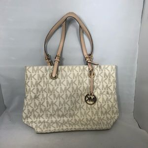 Michael Kors signature jet set tote white gold